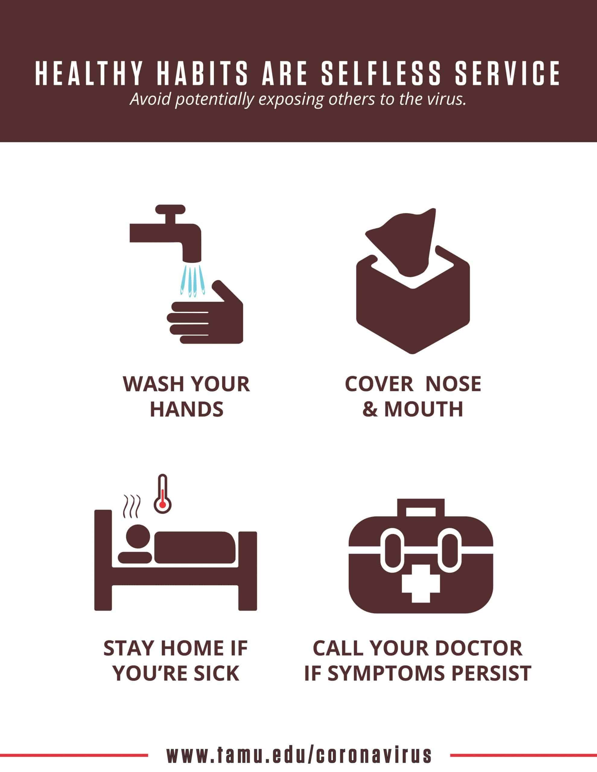 Healthy habits poster with reminders to wash your hands, stay home if you're sick, cover your nose and mouth,